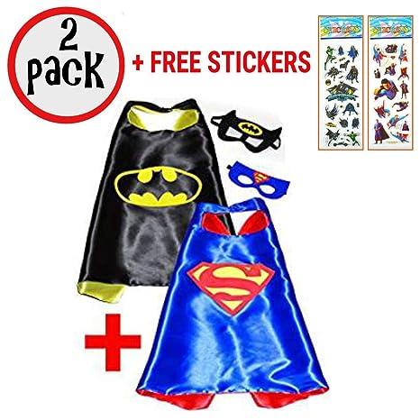 SquishyBean 2 set bambini mantello e maschera Batman e Superman costume da  super eroe travestimento Batman b65393bfd23