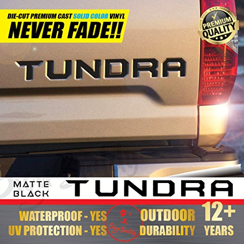 All-Weather Toyota Tundra (Gloss Piano Black) Tailgate Vinyl Decals Letters Insert Sticker 2014-2019