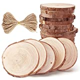 Caydo 20 Pieces 2.75-3.15 Inch Unfinished Predrilled Wood Slices Thickness of 0.8cm Solid Round Log Discs and 33 Feet Natural Jute Twine for Christmas Ornaments Decorations