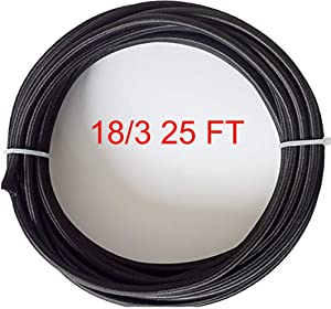 25FT 18AWG (3X41 Pins) 18/3-Black Round Cloth Covered Wire -Vintage Lamp Cord-Premium Textile Cable-Pefectly Suit for DIY Lamp Design-Safe and Durable