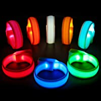 PROLOSO LED Armbands, Light Up Bracelets, Flashing Sports Wristband Pack of 8 Glow in The Dark Party Supplies