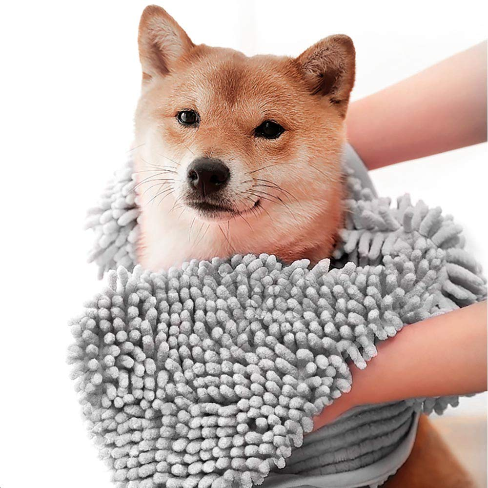 ColorYLife Dog Towel - Microfiber Super Shammy with Hand Pockets, Ultra Absorbent Quick Dry Pet Bath Towels for Small, Medium, Large Dogs and Cats (Large, 31'' x 14'', Grey)