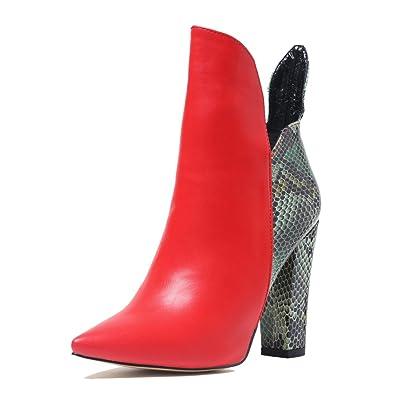 Onlymaker Damen Spitze Toe Blockabsatz Schuhe High Heels Stiefeletten Ankle Boots
