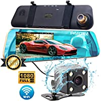 Dash Cam Front and Rear - Car Mirror Recorder DVR with WIFI 1080p & Rear View Camera 720p | 4.3 Rearview Mirror Monitor | Dashboard Car Driving Recorder with G-Sensor, Night Vision & Parking Assist