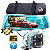 PARTIM NX100 Car Camera | Dash Cam Front and Rear - Mirror Recorder DVR with WIFI | Rear View Camera 720p | 4.3'' Mirror | Dashboard Driving Recorder with G-Sensor, Night Vision & Parking Assist