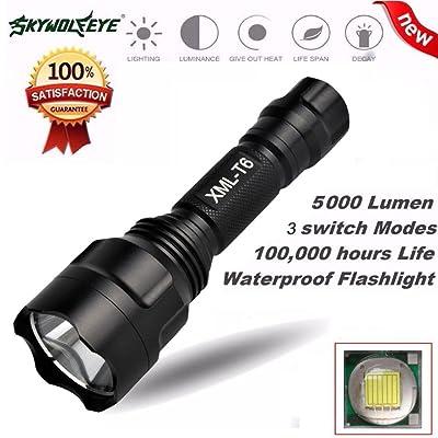 10principales LED Lampe torche tactique, 5000Lumens 5modes Super Bright Handheld lampe de camping pour la randonnée, cyclisme et situations d'urgence