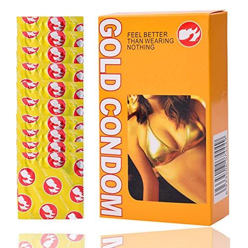 Condoms, Adult Lubricated Condoms Stimulate Vaginal, Super Thin,Luminous Condom Night Light Glow in the Dark Latex Condoms (golden 20)
