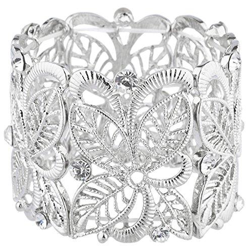 Lux Accessories SilverTone Faux Rhinestone Wide Filigree Flower Stretch Bracelet