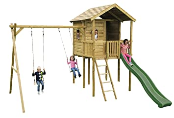 Gate Lodge Outdoor Childrens Wooden Swing Set Climbing Frame
