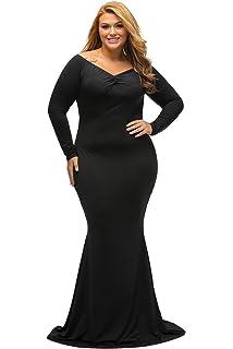 2c4eabbe36 Amazon.com  Lalagen Women s Plus Size Off Shoulder Long Formal Party ...