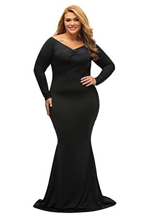 4689a8cdc26 Lalagen Women s Plus Size Off Shoulder Long Sleeve Formal Gown Black XL