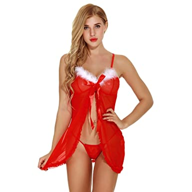 17a26831723 Womens Christmas Lingerie Red Santa Babydolls Chemises Set  Amazon ...