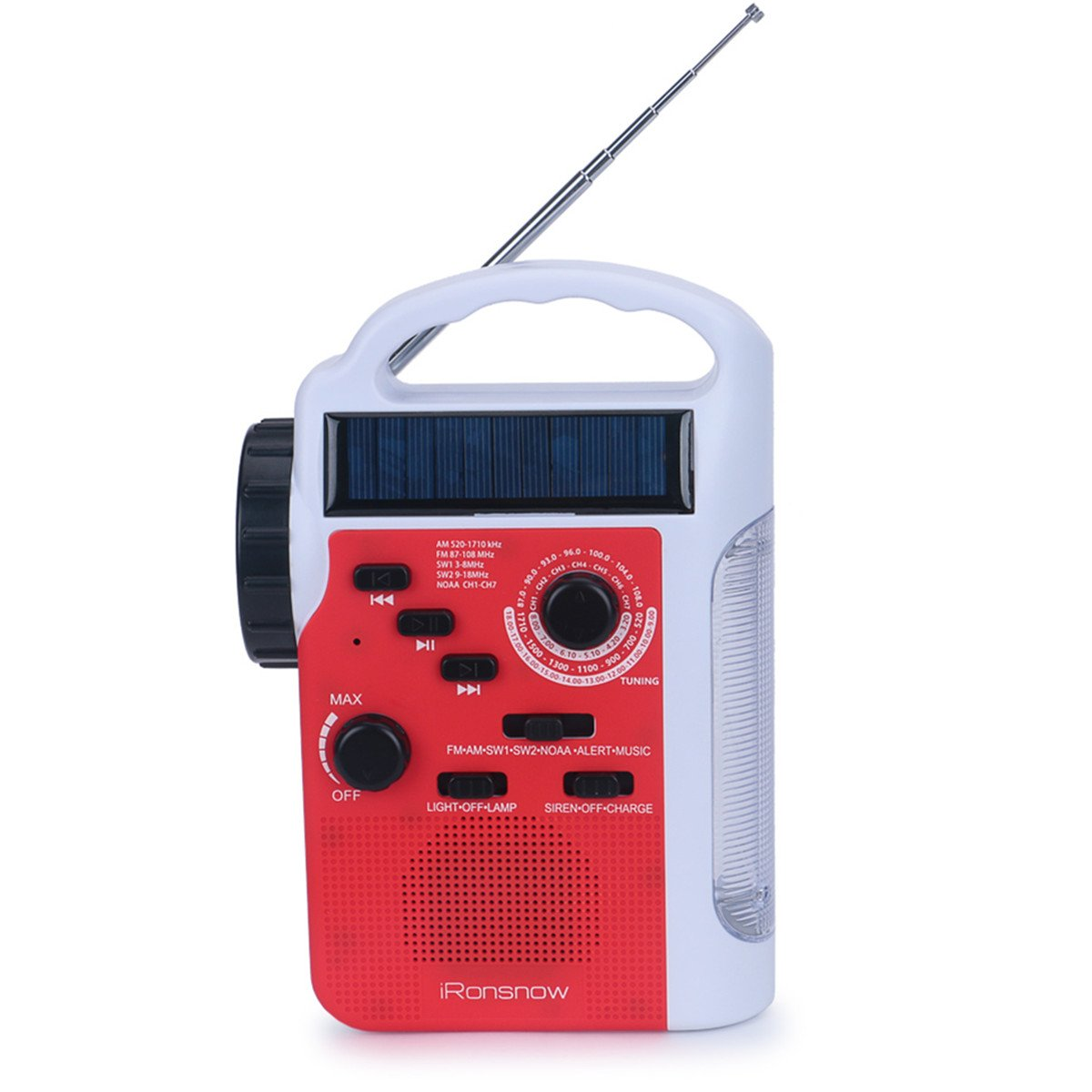 iRonsnow IS-399 Real NOAA Alert Weather Radio Lantern, Solar Crank Emergency AM/FM / SW/NOAA Radio, TF Card Speaker, 5 LEDs Flashlight, 8 Headlamps, 2300mAh Rechargeable Power Bank for Cellphone