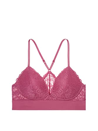 cf0ab5ba99a78 Image Unavailable. Image not available for. Color  Victoria s Secret PINK  Lace Lightly Lined Triangle Bralette ...