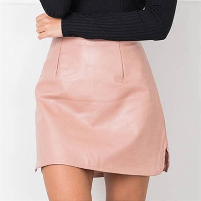 a2dd0f298e7 TOGIC Fashion PU Leather Skirts High Waist Vintage A-Line Office Skirts  Womens Solid Mini