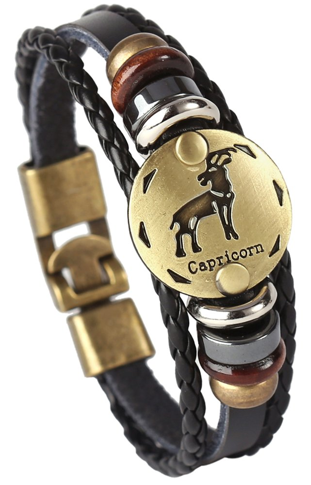 Doitory Men Punk Alloy Leather Bracelet Constellation Braided Rope Bracelet Bangle Wristband xxxl110-Aquarius