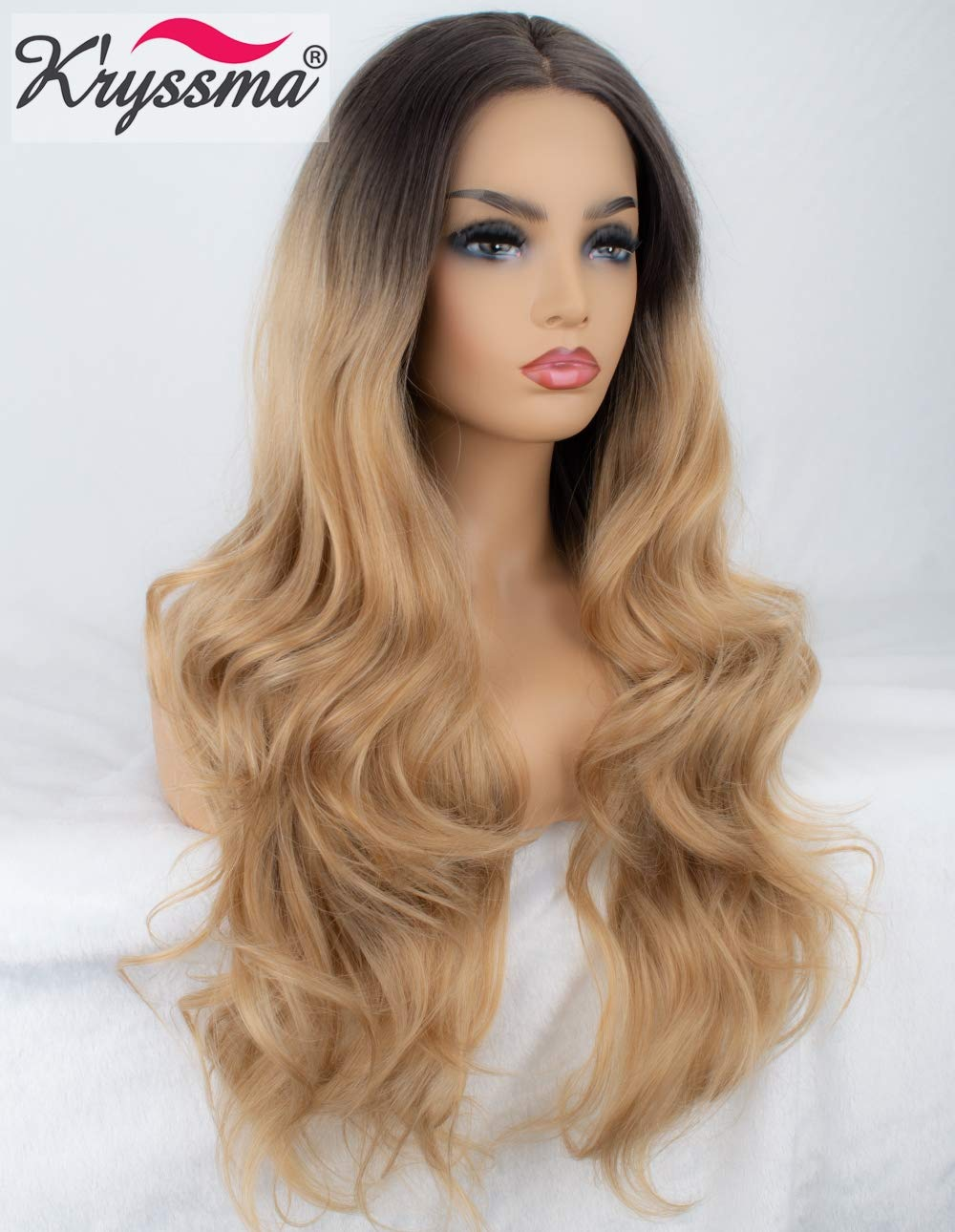 bb50fea9d2cf95 Amazon.com : K'ryssma Ombre Blonde Lace Front Wigs Dark Roots Brown to  Blonde Ombre Synthetic Wigs For Women Natural Looking Long Wavy Wig Heat  Resistant 24 ...