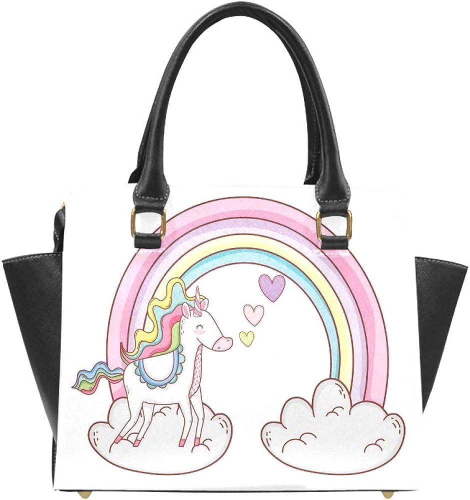 Cute Handbags Cute Baby Unicorn With Colorful Rainbow Cloud Pu Leather Rivet Hand Bag Crossbody Shoulder Bag Handbag Travel Tote For Women Lady Girl Mens Travel Bags Shoulder