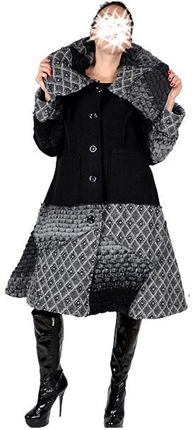 Trench Patchwork Wolle Mantel Damen Swinger Coat Lagenlook mNnOPwv8y0