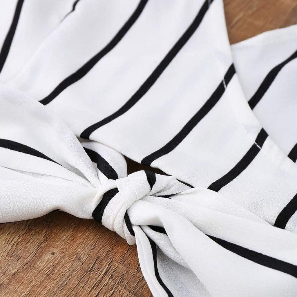 NPRADLA Womens Leisure Senza Maniche con Scollo A V A Righe Strappy Cami Wrap Top E Shorts Suit Set Sconto Primavera Estate 2019