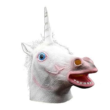 BESTOYARD Máscara de Cabeza de Unicornio Máscara de Halloween de Halloween Máscara de Animal Favor de