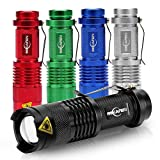 [5 Pack] Mini Led Flashlight 300 Lumens 3 Modes Adjustable Focus Zoomable Waterproof Flashlights