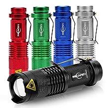 5 Pack Mini Cree Q5 Led Flashlight Torch 300 Lumens 3-speed (Light - Low Light - Strobe)adjustable Focus Zoomable Light