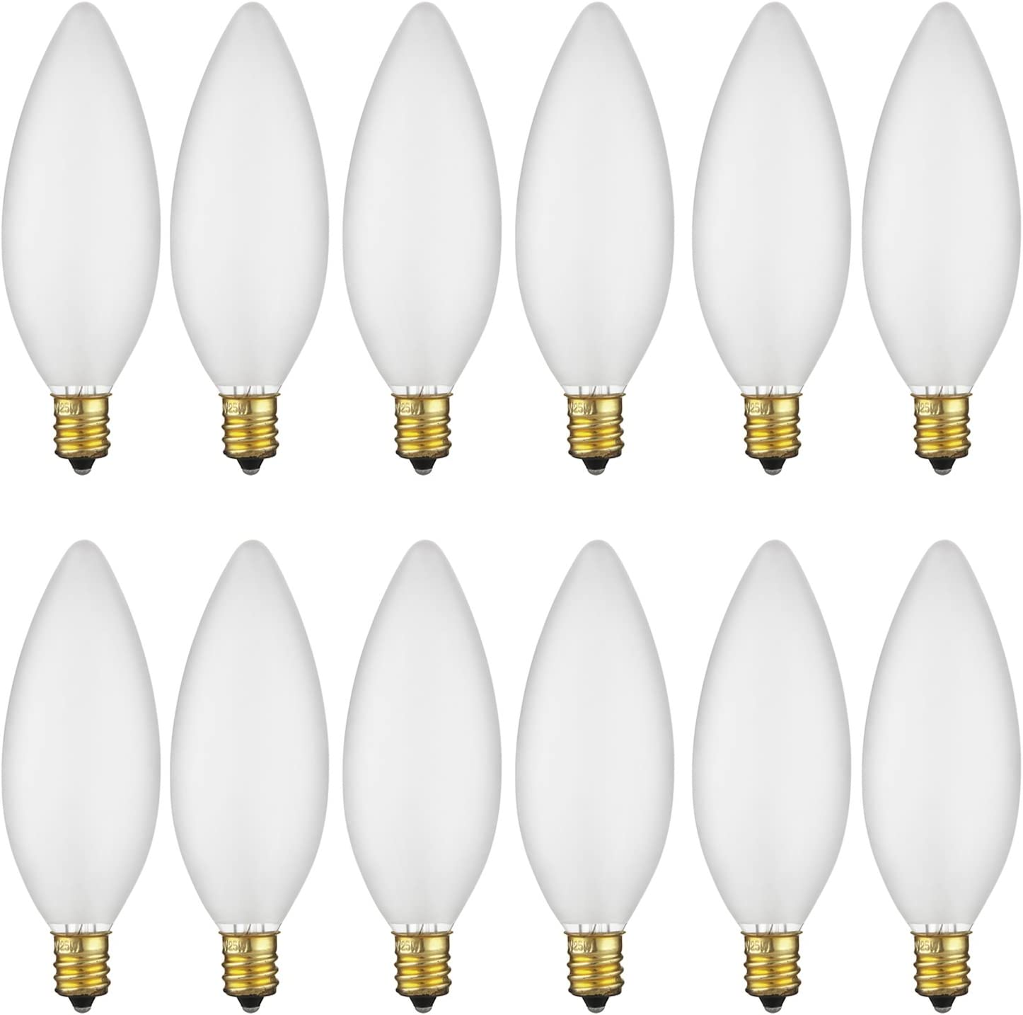Sunlite 15CTF/25/12PK 15W Incandescent Petite Chandelier Light Bulb, Candelabra (E12) Base, Frosted Bulb (12 Pack)