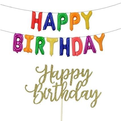 Amazon.com: Globos de feliz cumpleaños, decoración de fiesta ...