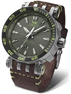 Vostok-Europe Energia 2 NH35-575H284 Leather Green Brown Watch Pilot Automatic 49mm