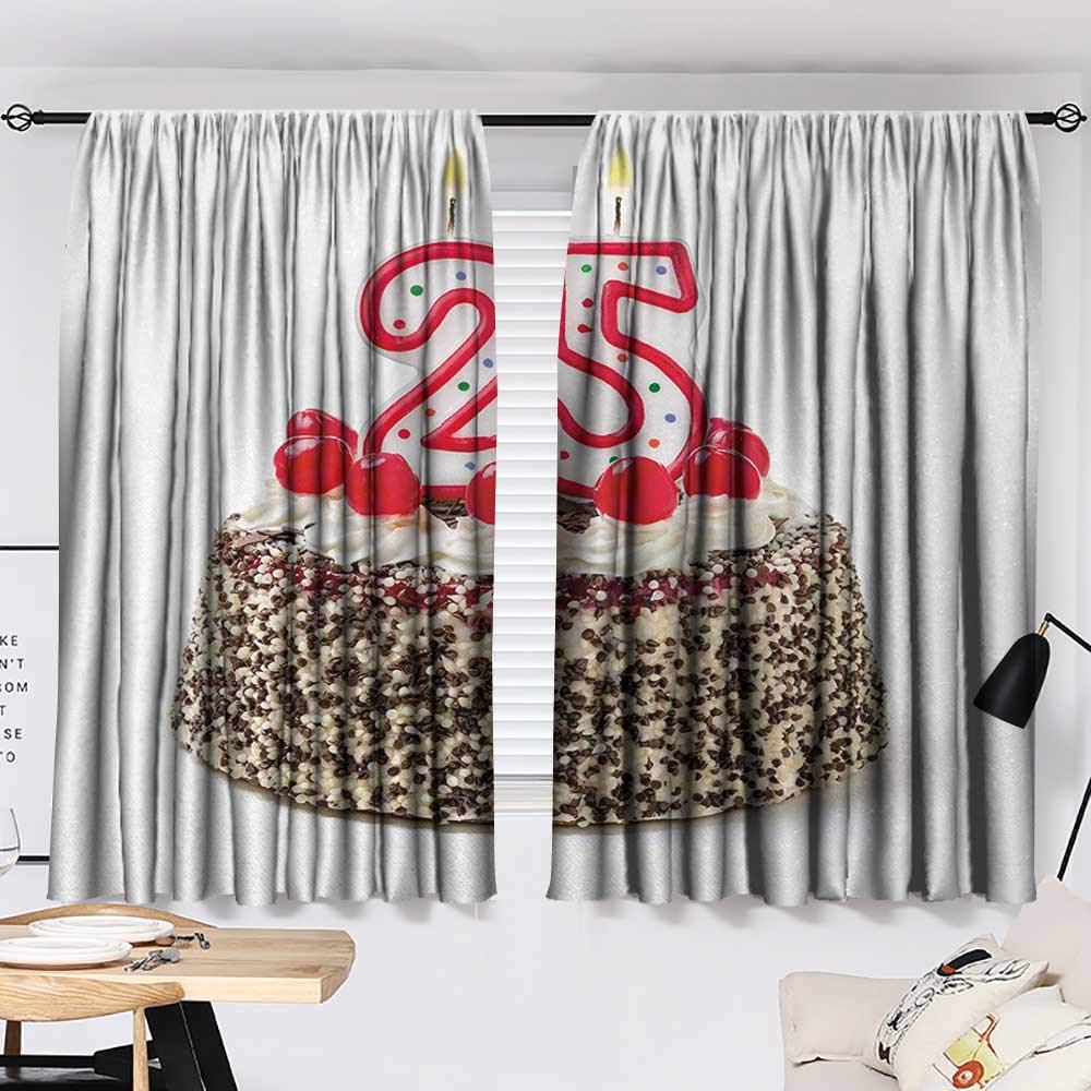 Jinguizi 25th Birthday Curtain Doorway Number Candles Twenty Five on Chocolate Cherry Cake Yummy Artwork Print Window Darkening Curtains Red Cream Brown W55 x L39 by Jinguizi (Image #2)