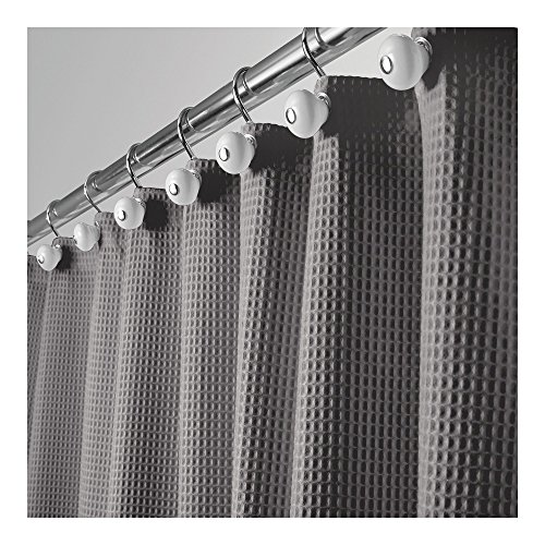 (mDesign Hotel Quality Polyester/Cotton Blend Fabric Shower Curtain, Rustproof Metal Grommets - Waffle Weave for Bathroom Showers and Bathtubs - 72