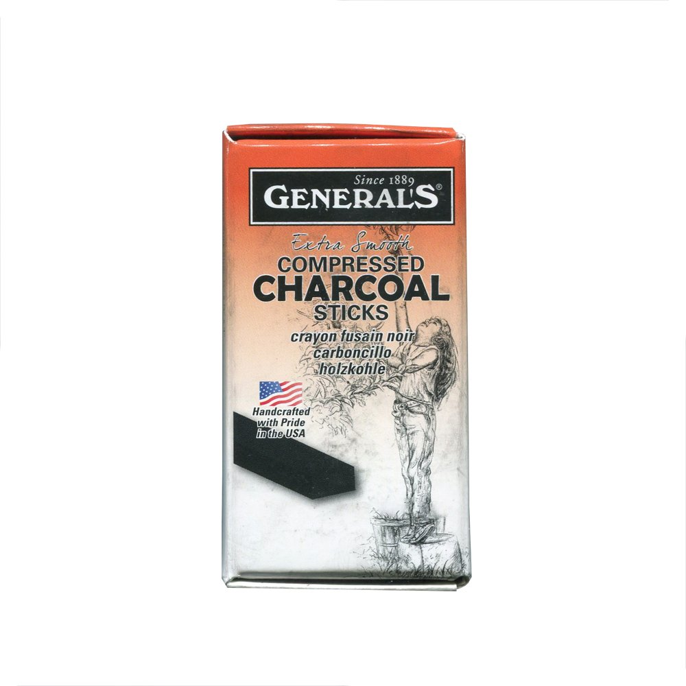 General Pencil Compressed Charcoal- Box of Six Soft Rectangular 6B Sticks 960-6B