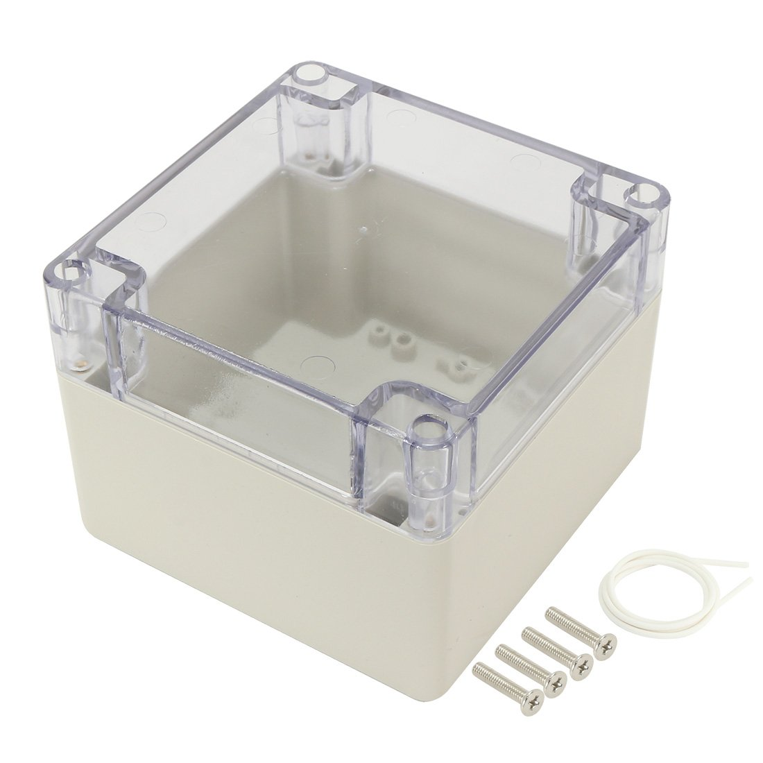 uxcell 4.7''x4.7''x3.5''(120mmx120mmx90mm) ABS Junction Box Universal Project Enclosure with PC Transparent Cover
