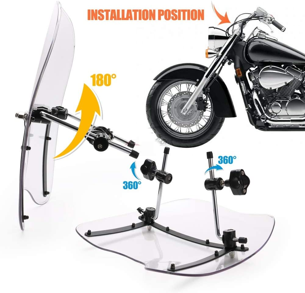 QOHFLD Parabrisas de la motocicleta,For Honda Shadow ACE RS 750 Aero Spirit 1100,motorcycle motorbike Windshield Windscreen