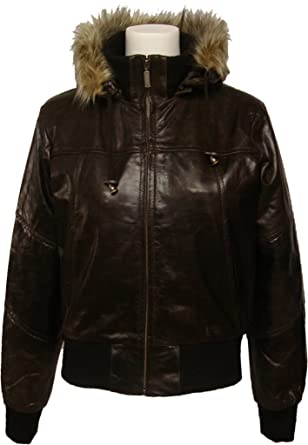 Womens Brown Hooded leather bomber jacket with fur collar # M2 at ...