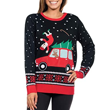 43f2acb0865 Clearance Forthery Christmas Sweater, Women Reindeer Ugly Snowflakes  Pullover Jumper(Black, Small)