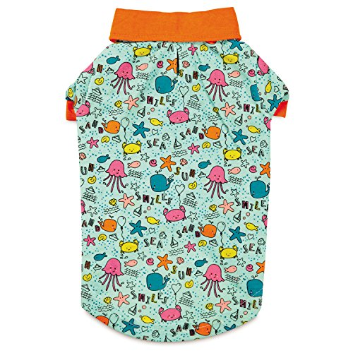 Zack & Zoey Sun and Sea UPF40 Polo Shirt for Dogs, Small/Medium, Blue/Orange