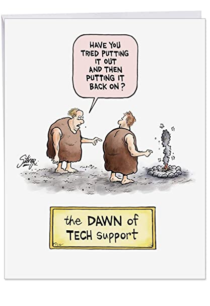 Hysterical Dawn Of Tech Support Birthday Card With Envelope Large 85 X 11 Inch