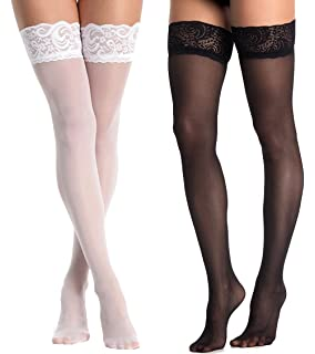 cb66fae4624 Beluring Womens Fishnet Stockings Silicon Lace Top Thigh High Tights 2 Pack