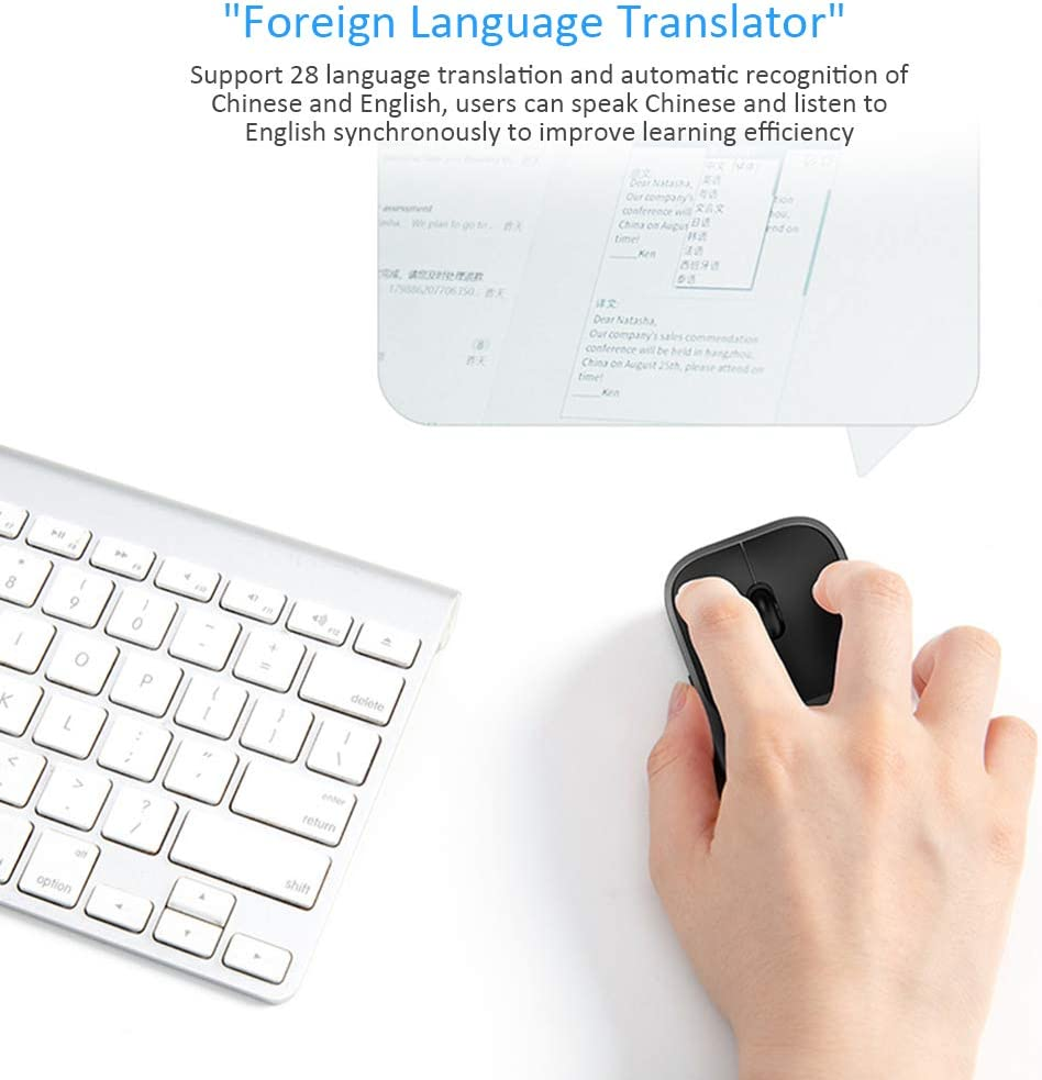 LYXLQ Mini Wireless Mouse Supports 28 Languages Ultra Thin 2.4G USB Cordless Silent Mice Smart Translation Voice Control Ergonomic Design