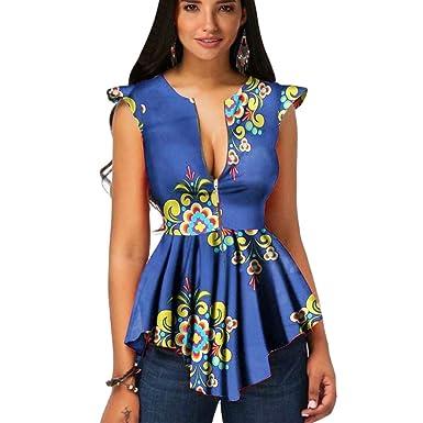 Blouse Sunnywill African Summer Sans Manches Pour Femmes Zipper HeW2DE9IY