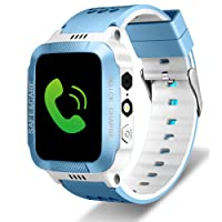 Tounique Kids Smart Watch Children 2 Way Call GPS Tracker Parents Control Camera Games Flash Night Light Touch Anti-Lost SOS Children Bracelet iPhone Android Smartphone (Blue+White,Type 2)