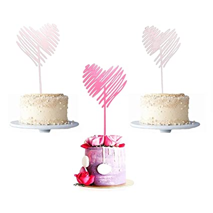 Amazon Com Janou Heart Shape Cake Toppers Lovely Acrylic Cupcake