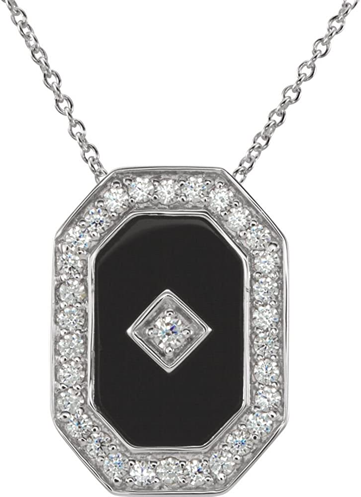 925 Sterling Silver Simulated Onyx And Cubic Zirconia Necklace 13x9mm