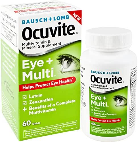 Bausch + Lomb Ocuvite Eye and Multi Multivitamin and Mineral Supplement with Lutein, Zeaxanthin, and Other Antioxidants, 60 Count Bottle