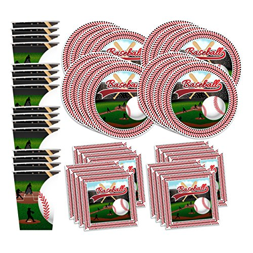Baseball Star Birthday Party Supplies Set Plates Napkins Cups Tableware Kit for 16 -