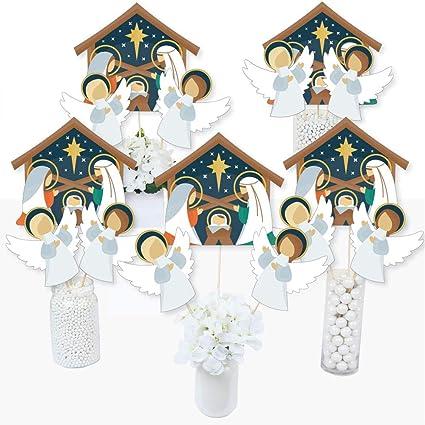 Amazon Com Big Dot Of Happiness Holy Nativity Manger Scene