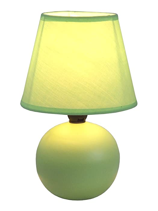 "Simple Designs Home LT2008-GRN Mini Ceramic Globe Table Lamp, 5.51"" x 5.51"" x 8.66"", Green"