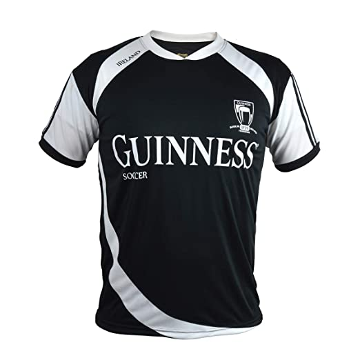 571bcf7bb5312 Amazon.com: Guinness Soccer Jersey - Black/White Polyester Athletic ...